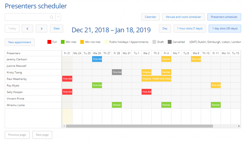 Arlo's calendar lets your see when your courses are running, which ones are full or not and more.