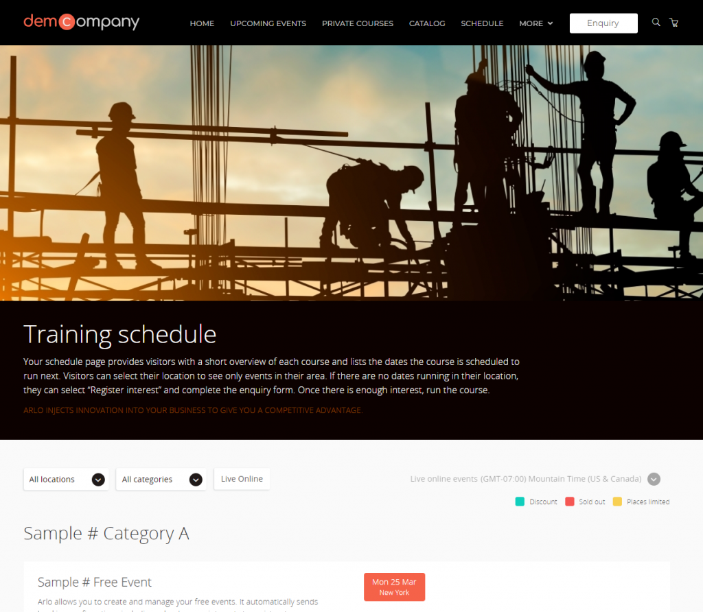 Training schedule webpage showing all courses and their upcoming sessions.
