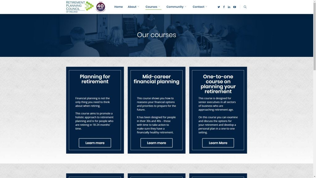 Retirement Planning Council of Ireland Courses Page