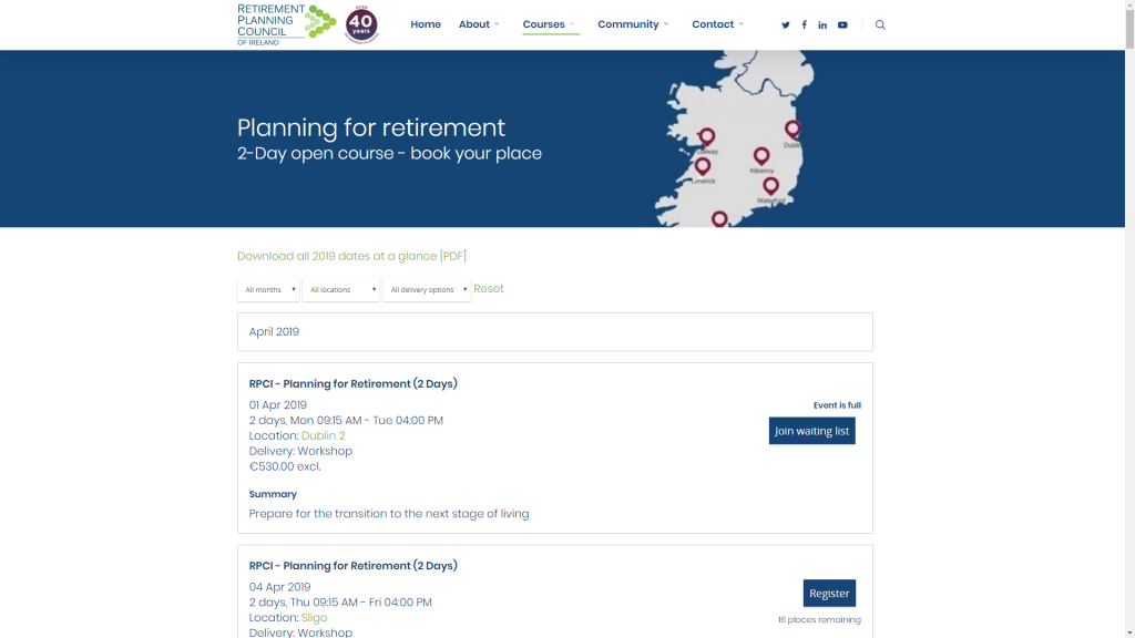 Retirement Planning Council of Ireland Course list