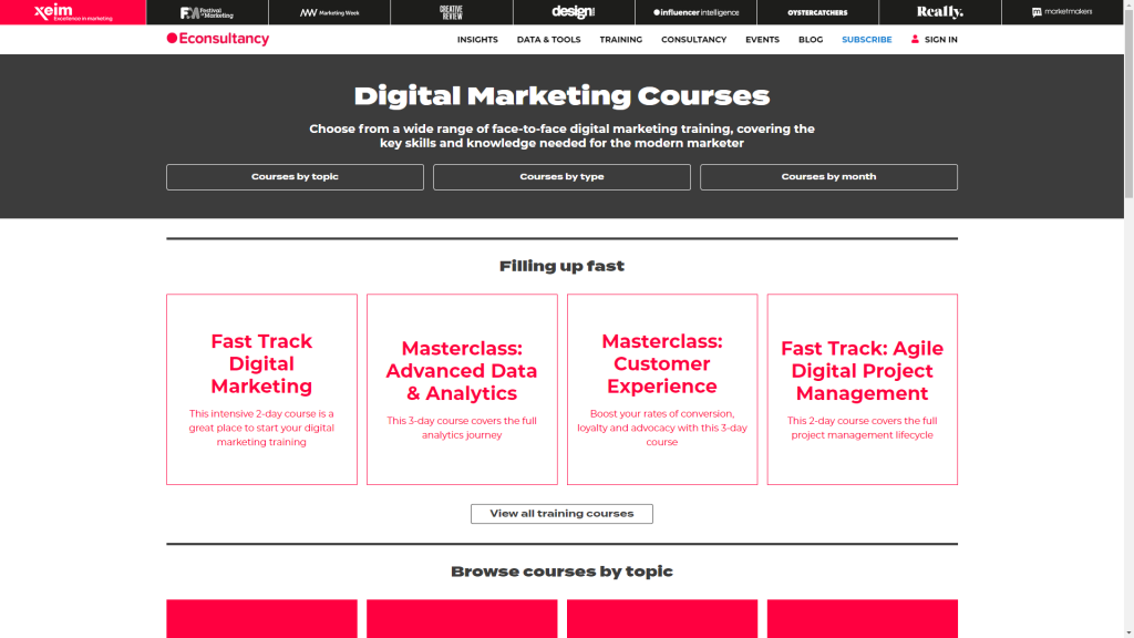 Econsultancy digital marketing course catalogue