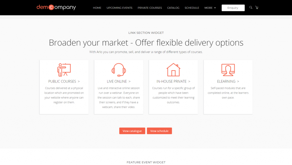 Training company homepage widget example - delivery method based.